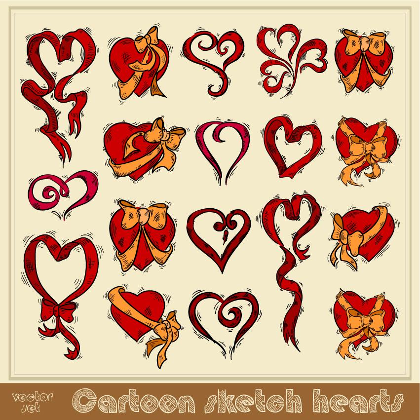 free vector Exquisite handpainted red heart 02 vector