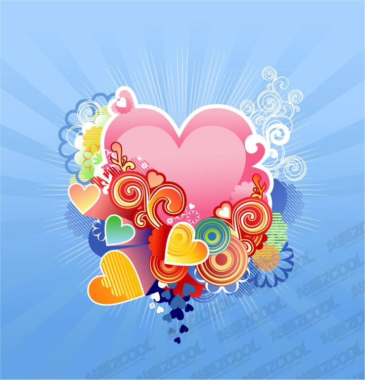 free vector Exquisite heart-shaped pattern