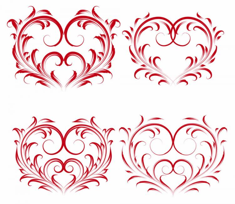 free vector Exquisite heartshaped pattern vector