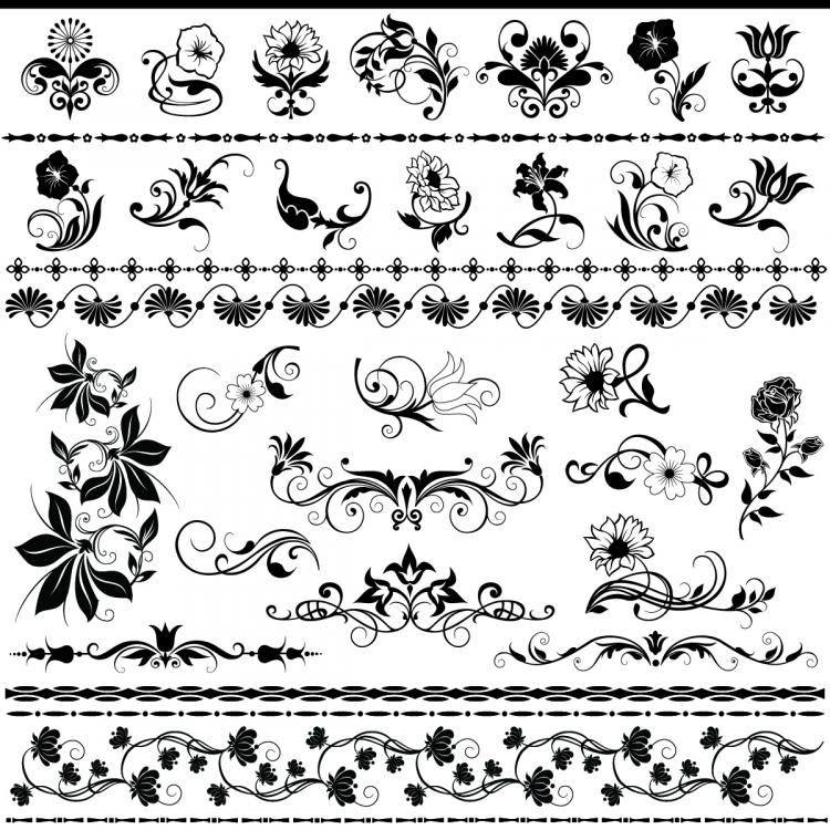 Line Art Design Vector Free Download : Exquisite lace pattern vector free