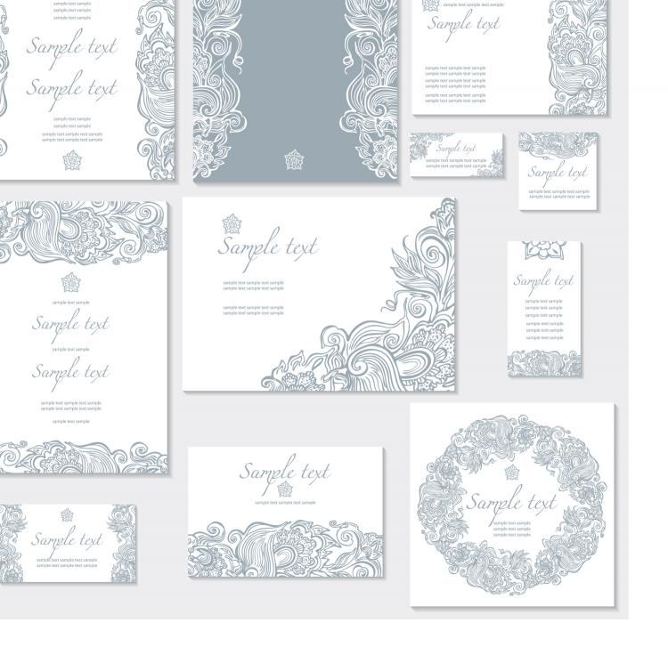free vector Exquisite pattern card 01 vector