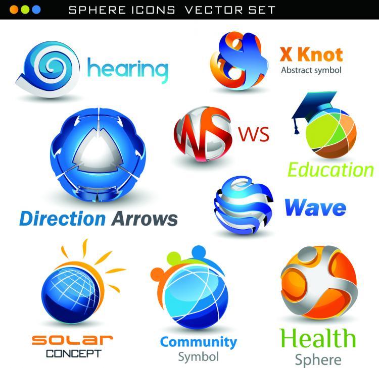 free vector Exquisite threedimensional logo set 01 vector