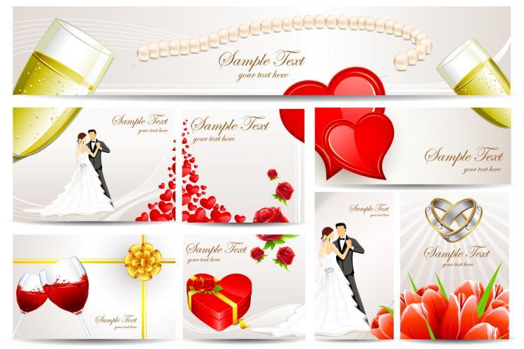Exquisite wedding greeting card vector Free Vector 4Vector