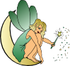 free vector Fairy Sitting On Moon clip art