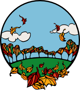 free vector Fall Scene In A Circle clip art
