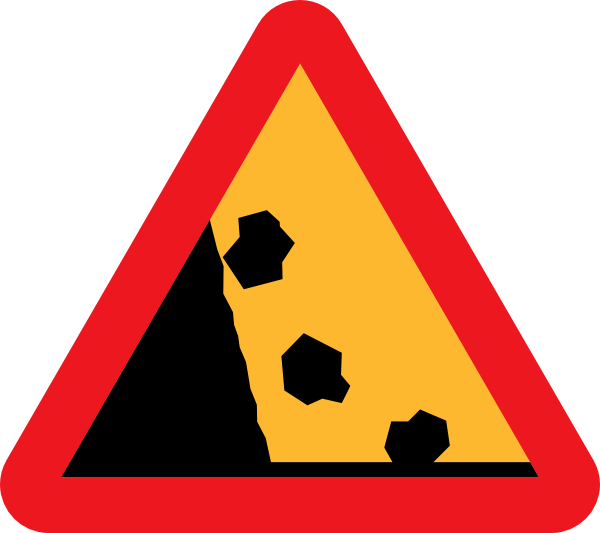 free vector Falling Rocks Road Sign clip art