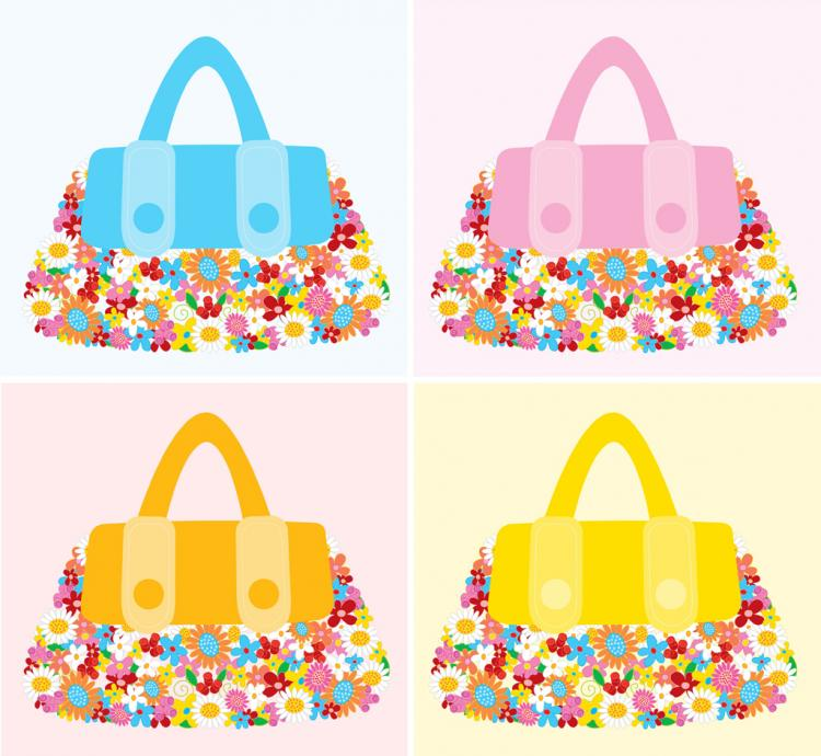 free vector Fashion Accessories Flower Bags