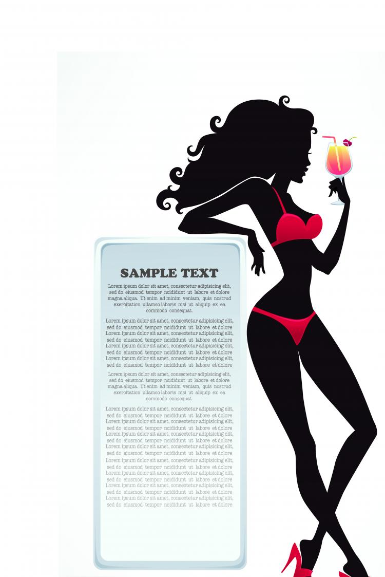 free vector Fashion beauty silhouette 02 vector