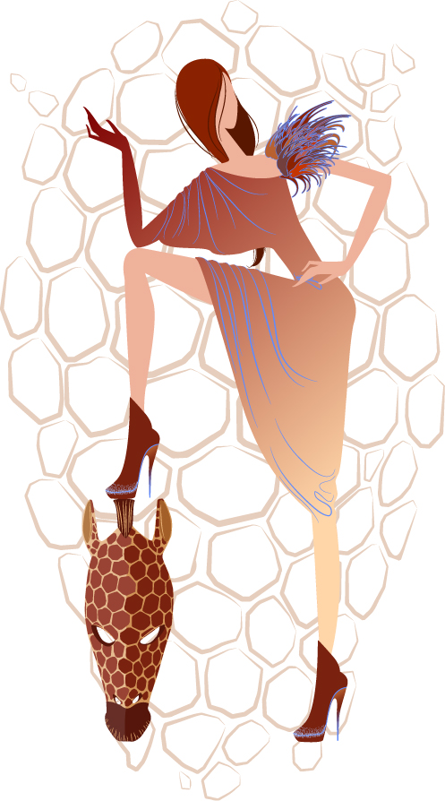 free vector Fashion cartoon girl vector