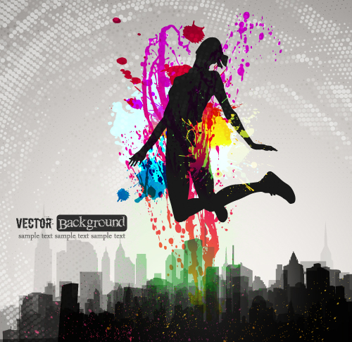 free vector Fashion color splash background 05 vector