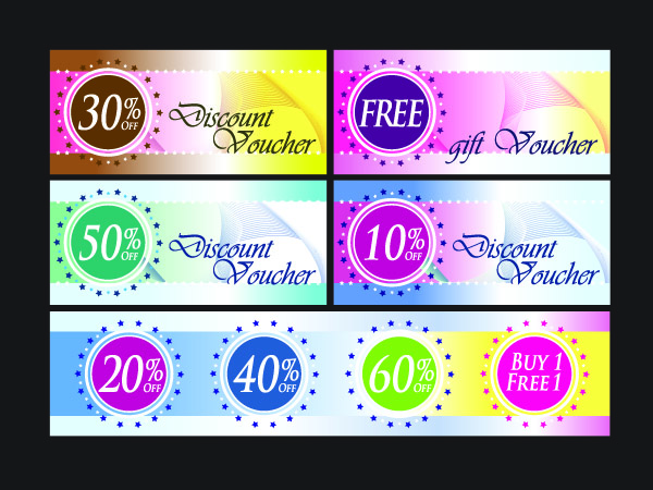 free vector Fashion discount card template vector with discount coupons