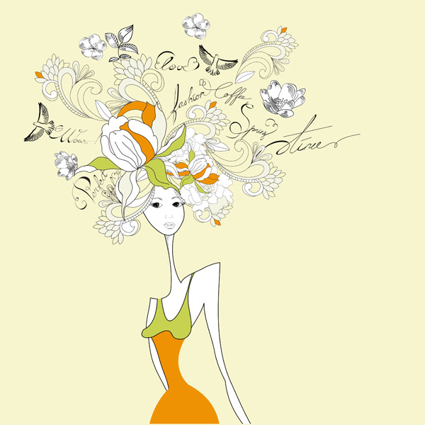 free vector Fashion girl stick figure vector