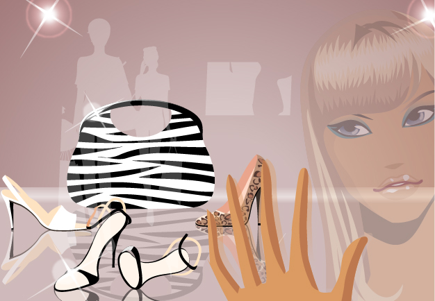 free vector Fashion girl vector goods and the window