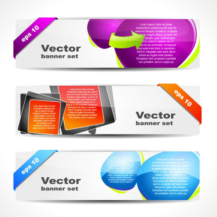 free vector Fashion glossy banner 01 vector
