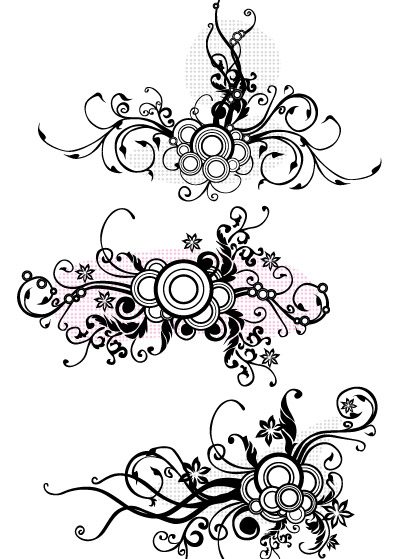 Line Drawing Flower Pattern : Fashion line drawing pattern vector material free