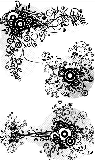free vector Fashion line drawing pattern vector material