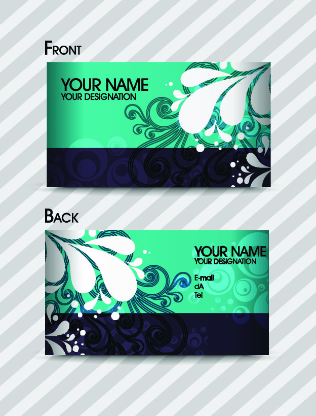 free vector Fashion pattern business card template 01 vector