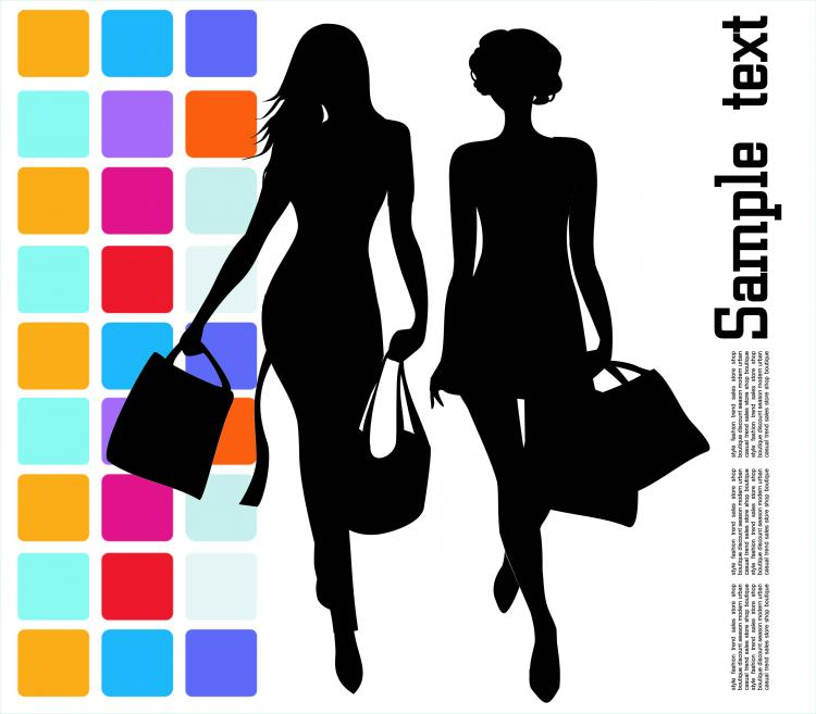free vector Fashion shopping beauty silhouette 04 vector