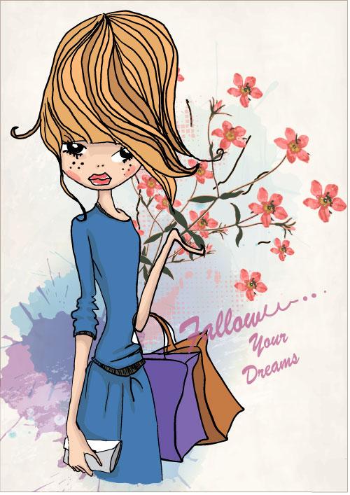 free vector Fashion shopping girl 01 vector