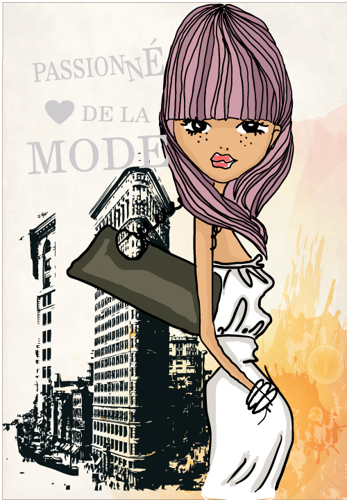 free vector Fashion shopping girl 03 vector