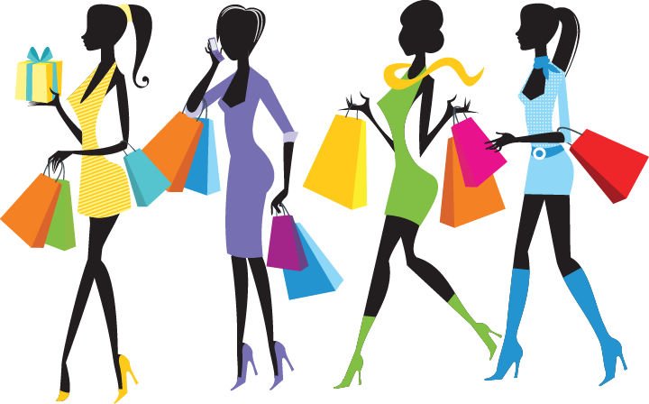 free vector Fashion Shopping Girls Illustration