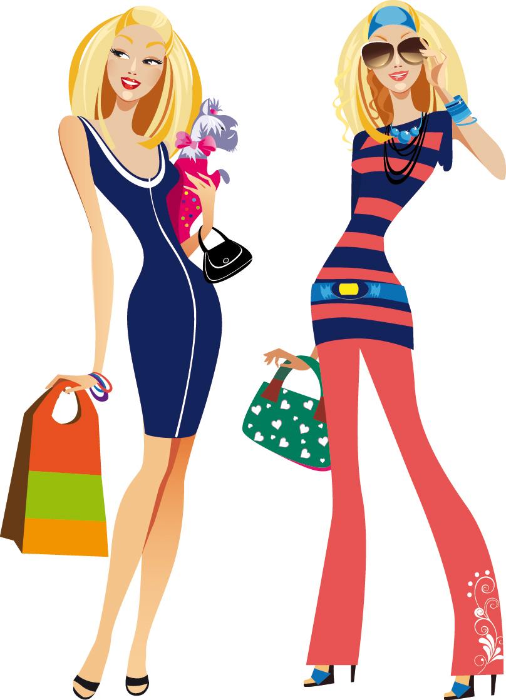 free vector Fashion women illustrator 02 vector