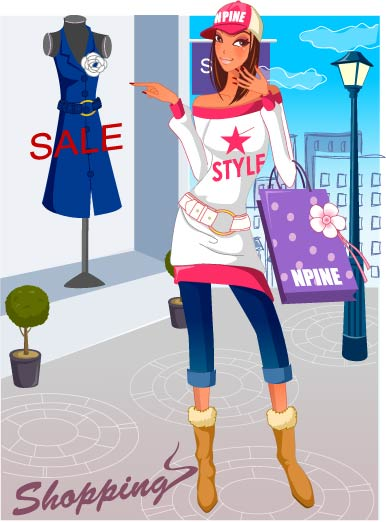 free vector Fashion women shopping 17