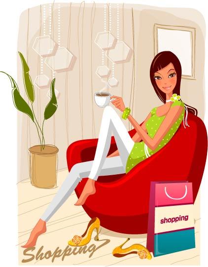 free vector Fashion women shopping 19