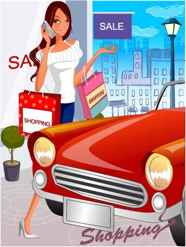 free vector Fashion women shopping 20