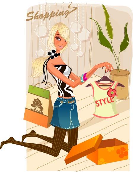 free vector Fashion women shopping 3