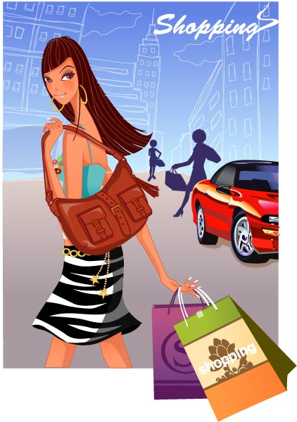 free vector Fashion women shopping 6