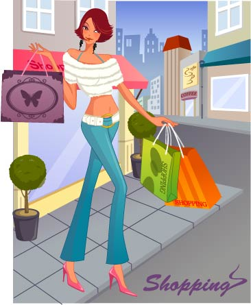 free vector Fashion women shopping 8