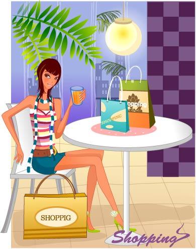 free vector Fashion women shopping 9
