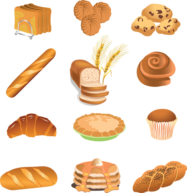 free vector Fastfood breakfast pastries vector