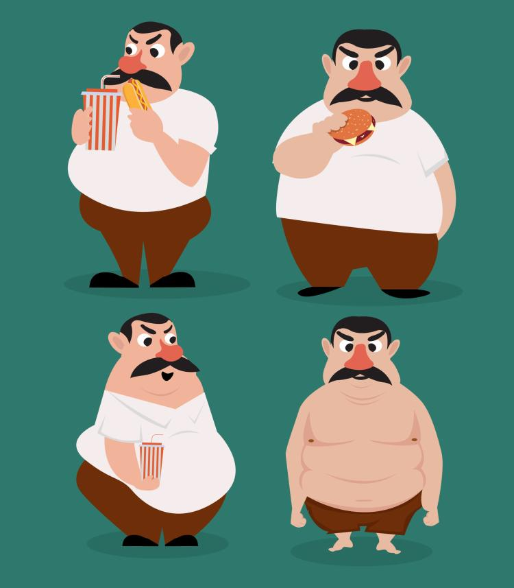 free vector Fat man icons funny cartoon character