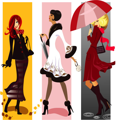 free vector Female characters vector fashion