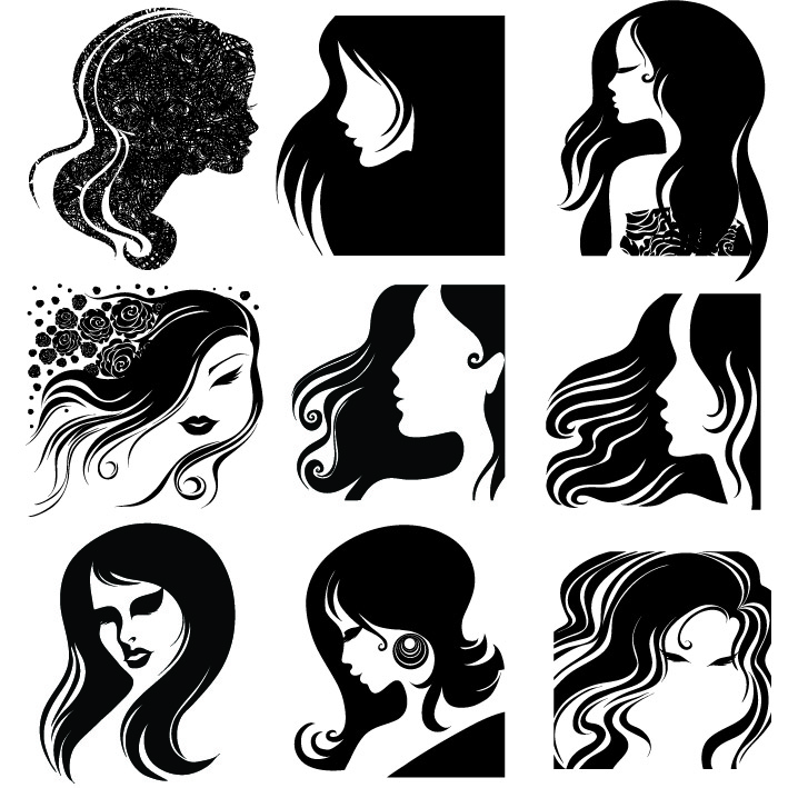 free vector Female head silhouette vector
