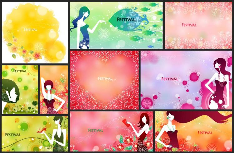 free vector Festival festive female pattern vector 4 10p