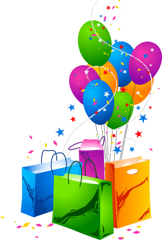 free vector Festive Balloons and Shopping Bags Vector