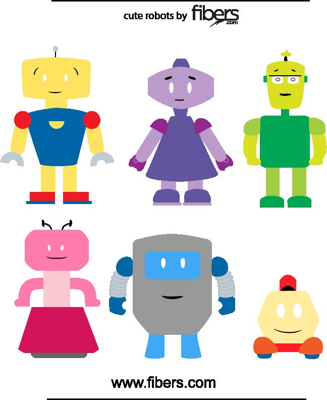 free vector Fibers.com Cute Robots