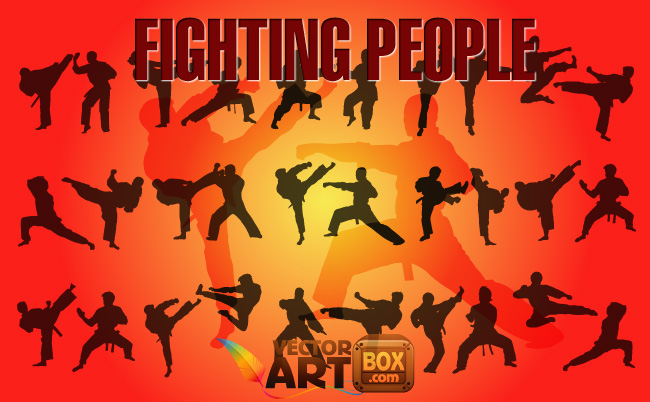 free vector Fighting People