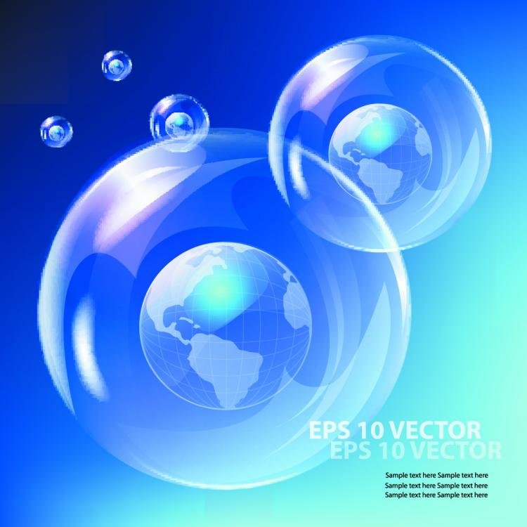 free vector Fine bubbles and blue sky 03 vector