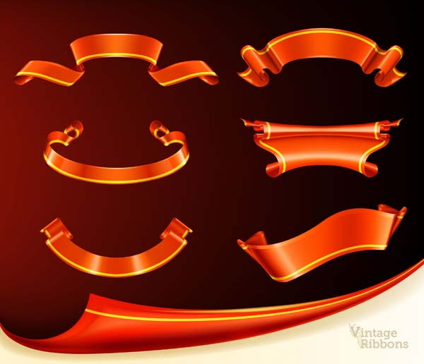 free vector Fine ribbon scroll vector