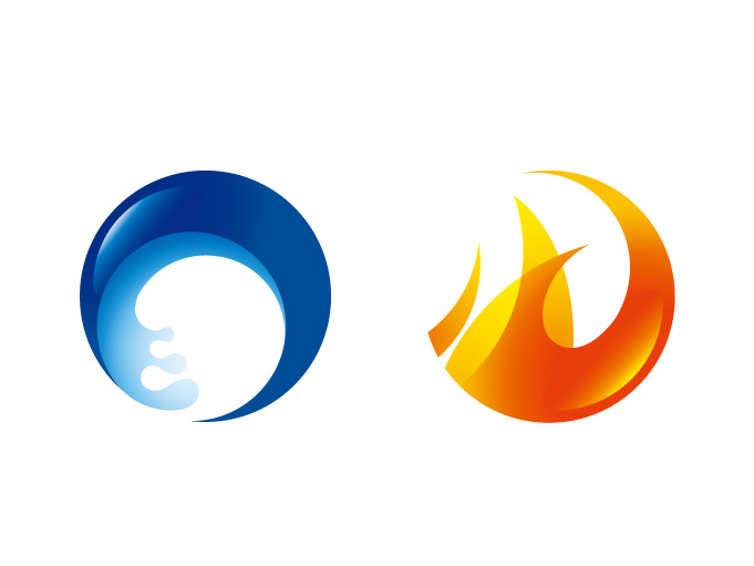 free vector Fire and water circular icon vector
