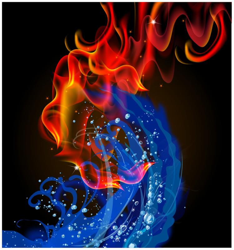 free vector Fire and water swirl
