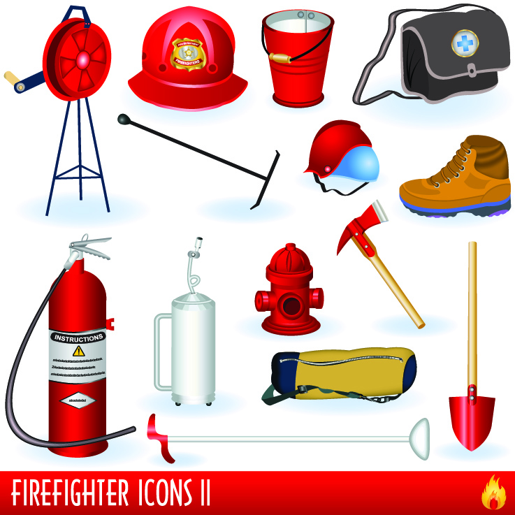 free vector Firefighters and fire equipment 01 vector