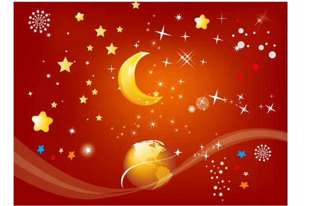 free vector Fireworks rain vector earth moon and star
