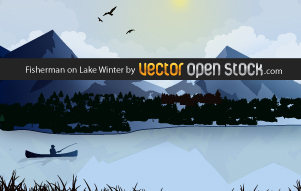 free vector Fisherman on Lake Winter