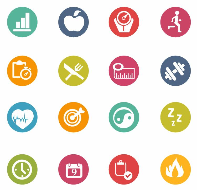 Fitness icons Free Vector / 4Vector