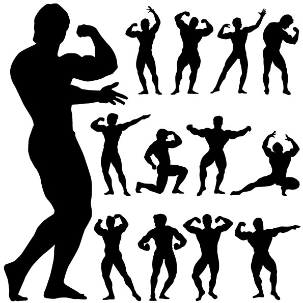free vector Fitness Person Action Silhouette Vector